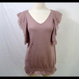 LOFT Dusty Rose V-Neck sleeveless ruffle sweater
